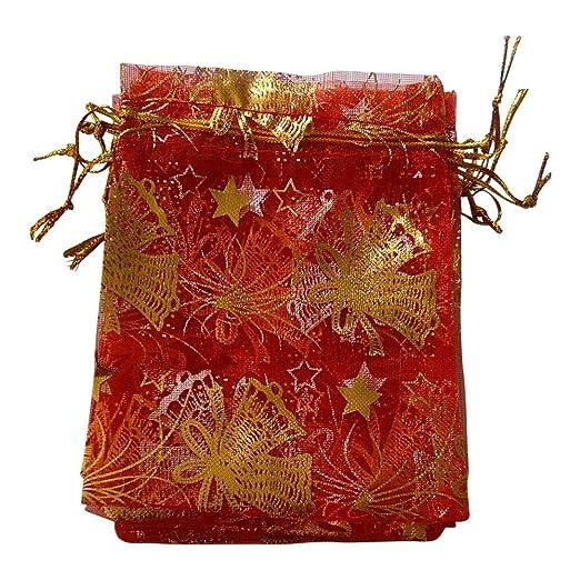 Bolsas de organza para regalos de Navidad, 11 x 16 cm, 25 ...