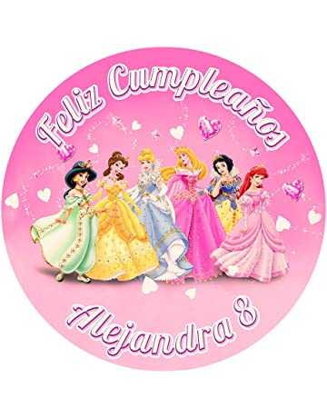 OBLEA de Papel de azúcar Personalizada, 19 cm, diseño de Princesas Disney