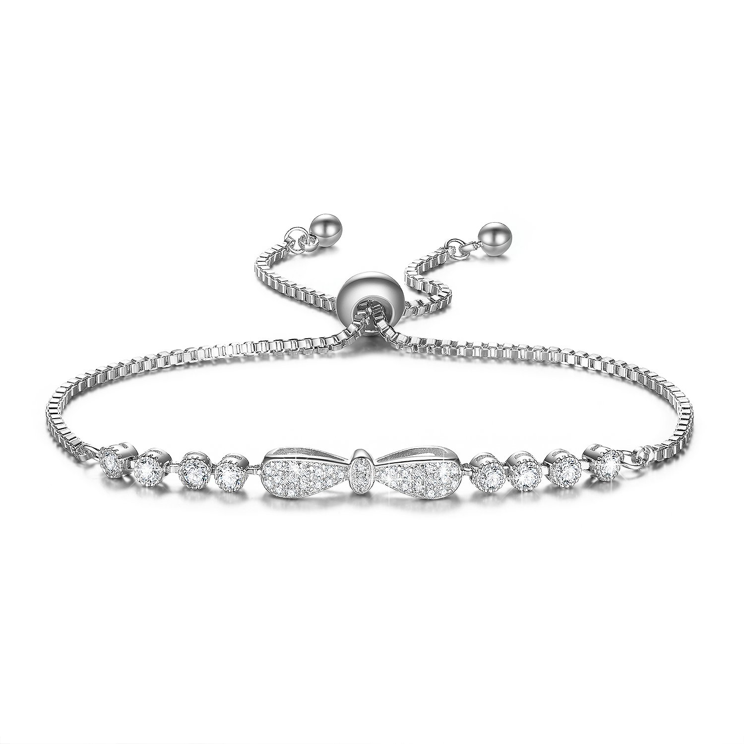 DIFINES Fashion Cute Bow Knot Charm 18k White Gold Plated CZ Diamond Adjustable Tennis Bracelets for Women Girls