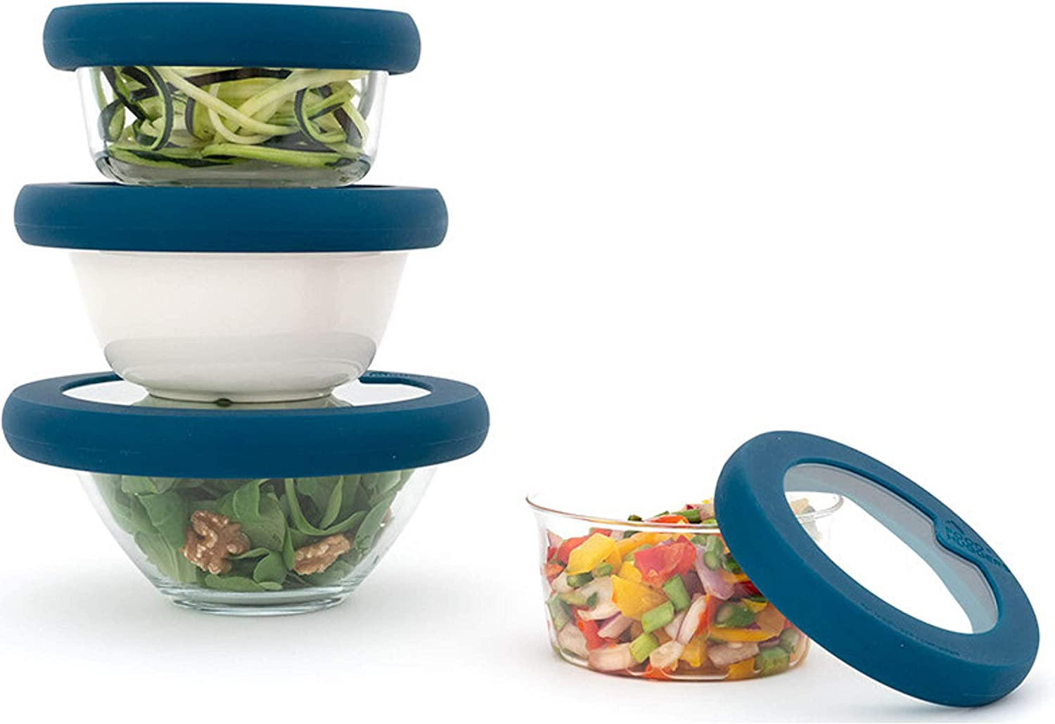 Food Huggers Lids, Set of Four, Teal, Extra Small, Small, Medium and Large(XS,S,M,L)