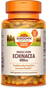 Sundown Echinacea Whole Herb 400 mg, 100 Capsules