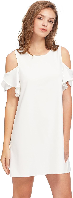 Milumia Womens Summer Cold Shoulder Ruffle Sleeves Shift Dress