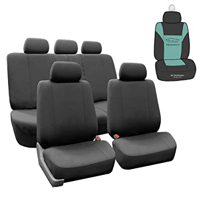 FH Group FB052115 Full Set Multi Functional Flat Cloth Car Seat Covers, Airbag Ready and Split, Charcoal Color - with Gift - Universal Car, Truck, SUV, or Van: Automotive