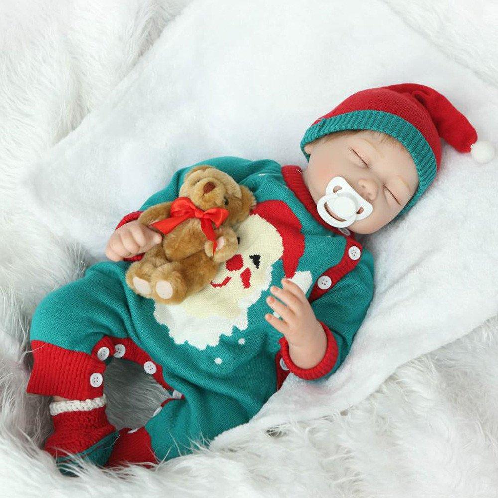 dirance 22インチLifelike Reborn人形Sleepingソフトシリコンパーツボディリアルなクリスマスガール人形ビニールreallike新生児赤ちゃん人形Outfits ,子供ギフトfor Ages 3 +、under 100ドル F DR  マルチカラー B07FQMJRPM