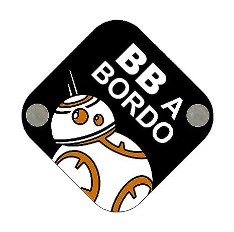 Cartel madera Bebé a bordo. Parodia Star Wars - BB. Bebé ...