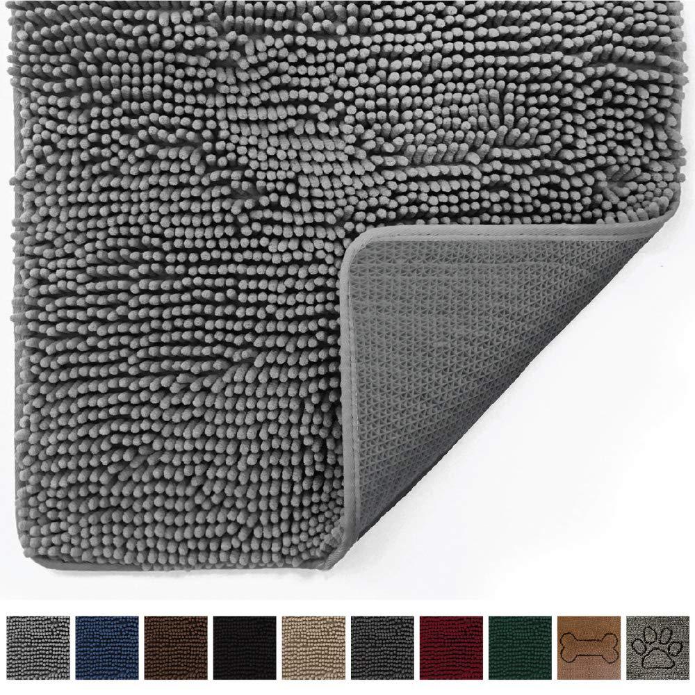 Gorilla Grip Original Indoor Durable Chenille Doormat, 48x30, Absorbent, Machine Washable Inside Mats, Low-Profile Rug Doormats for Entry, Mud Room Mat, Back Door, High Traffic Areas, Gray