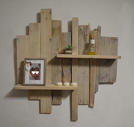 Estante rústico reciclado de madera blanco para sala paletas de diseño vinatge estante de madeira para