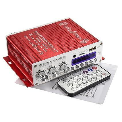 Elegiant - Amplificador mini estéreo bluetooth 12 V, alta ...