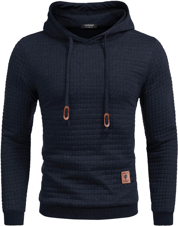 COOFANDY Men's Sweatshirt Hipster Gym Long Sleeve Drawstring Hooded Plaid Jacquard Pullover Hoodies at  Men's Clothing store