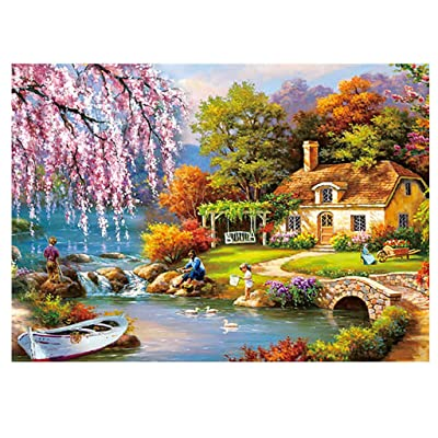 WOCACHI Adults Puzzles 150 PCS Country Scenery Fireworks Night Puzzle Game Personalized Wooden Kids Mini Tube Landscape Brain Games Teaser Daily DIY Pastime at Home Leisure Game Fun Toys Gift Sale: Toys & Games