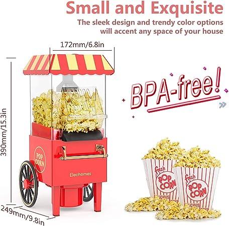 Aria calda Popcorn Maker 1200 watt Rosenstein /& S/öhne Macchina per popcorn: Retro macchina per popcorn ad aria calda Aspetto trolley in miniatura