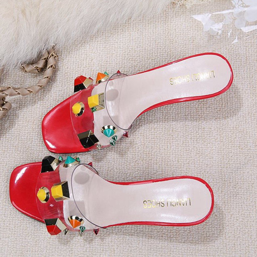 GIY Women Open Toe Slides Slippers Kitten Heels Slippers Slides Backless Dress Sandals Pumps Stiletto Shoes 7 M US|Red B07D741QSW 2f19c3
