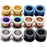 IPINK -Stainless Steel Screw Tunnels Ear Plugs Stretcher Expander Body Piercing Pack of 6
