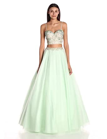 Jovani Womens Blue Two-Piece Prom Dress, White, ...
