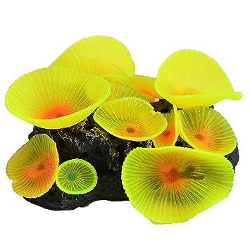 sourcingmap Peces De Acuario Tanque De Cerámica Aritificial Coral Submarino Amarillo Fluorescente Decoración: Amazon.es: Productos para mascotas