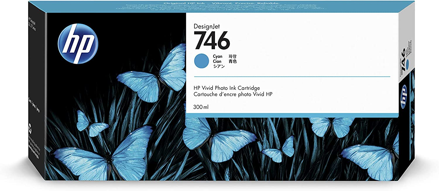 HP 746 Cyan 300-ml Genuine Ink Cartridge (P2V80A) for DesignJet Z6 & Z9+ Large Format Printers