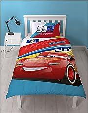 Cars Disney 3 Lightning - Parure de lit enfant - Housse de couette réversible lit 1 personne