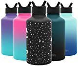 Simple Modern 64 oz Summit Water Bottle with Straw Lid - Hydro Vacuum Insulated Flask Double Wall Half Gallon Chug Jug - 18/8 Stainless Steel Engraved: Lunar
