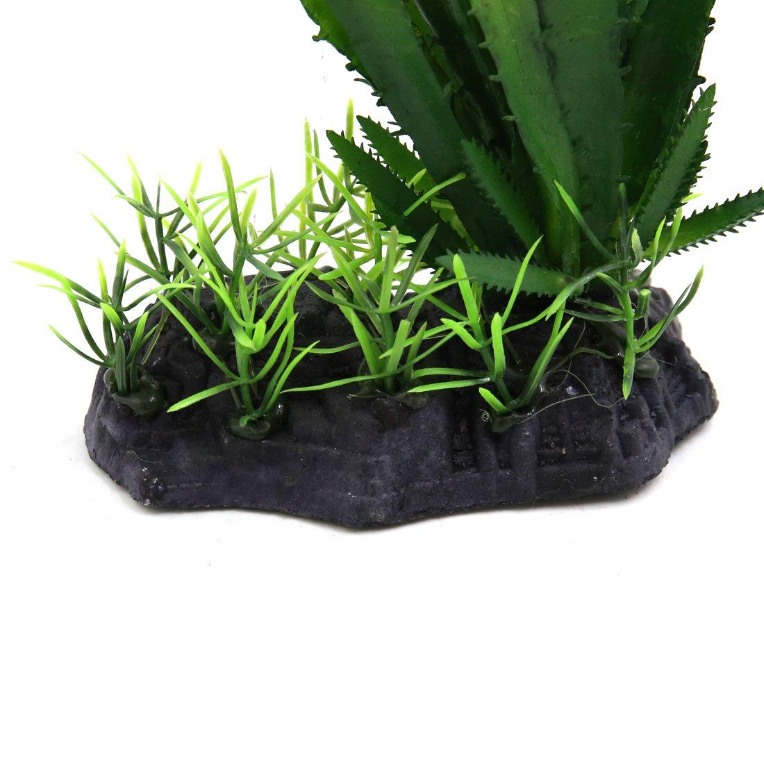 sourcing map Ornamento Planta Plástico Verde Cactus Terrario para Reptiles Y Anfibios Verde, Tipo 1 11x6.5x16cm/4.3