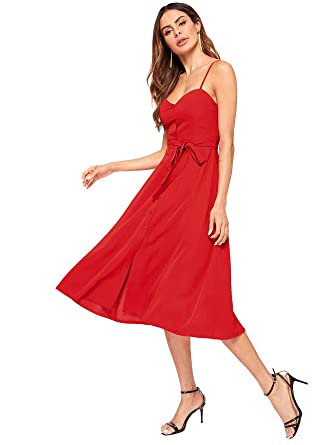 34ef5a9635 Romwe Women's Sleeveless Button Down Bow Belted A-Line Cami Dress Red-1  Small