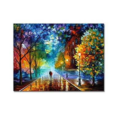 V-inspire Art, 24x36 Inch Modern Abstract Landscape Artwork Romantic Rainy Night Canvas Painting Wall Art Home Decorations Wall Décor Stretched Frame Ready to Hang …