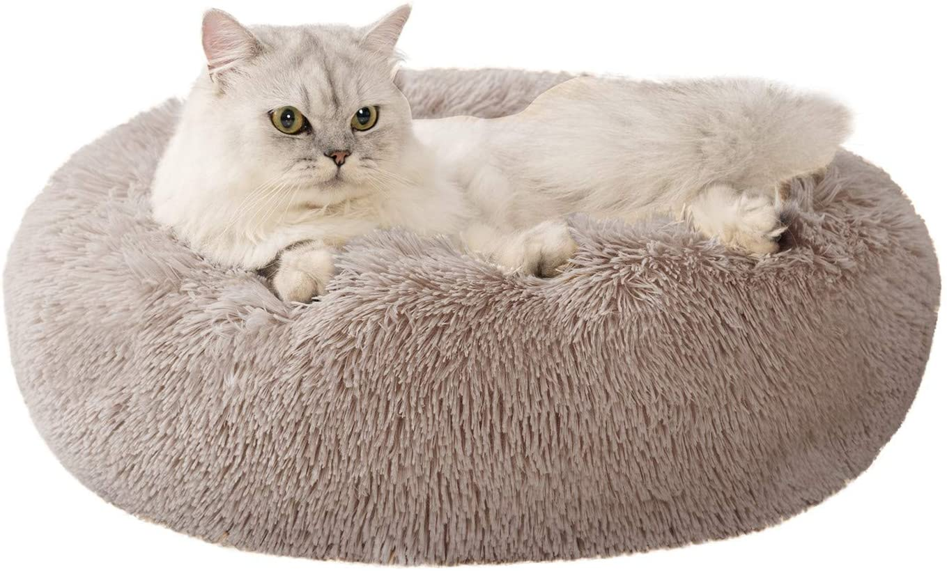 Love S Cabin 20in Cat Beds For Indoor Cats Cat Bed With Machine Washable Waterproof Bottom Taupe Fluffy Dog And Cat Calming Cushion Bed For Joint Relief And Sleep Improvement
