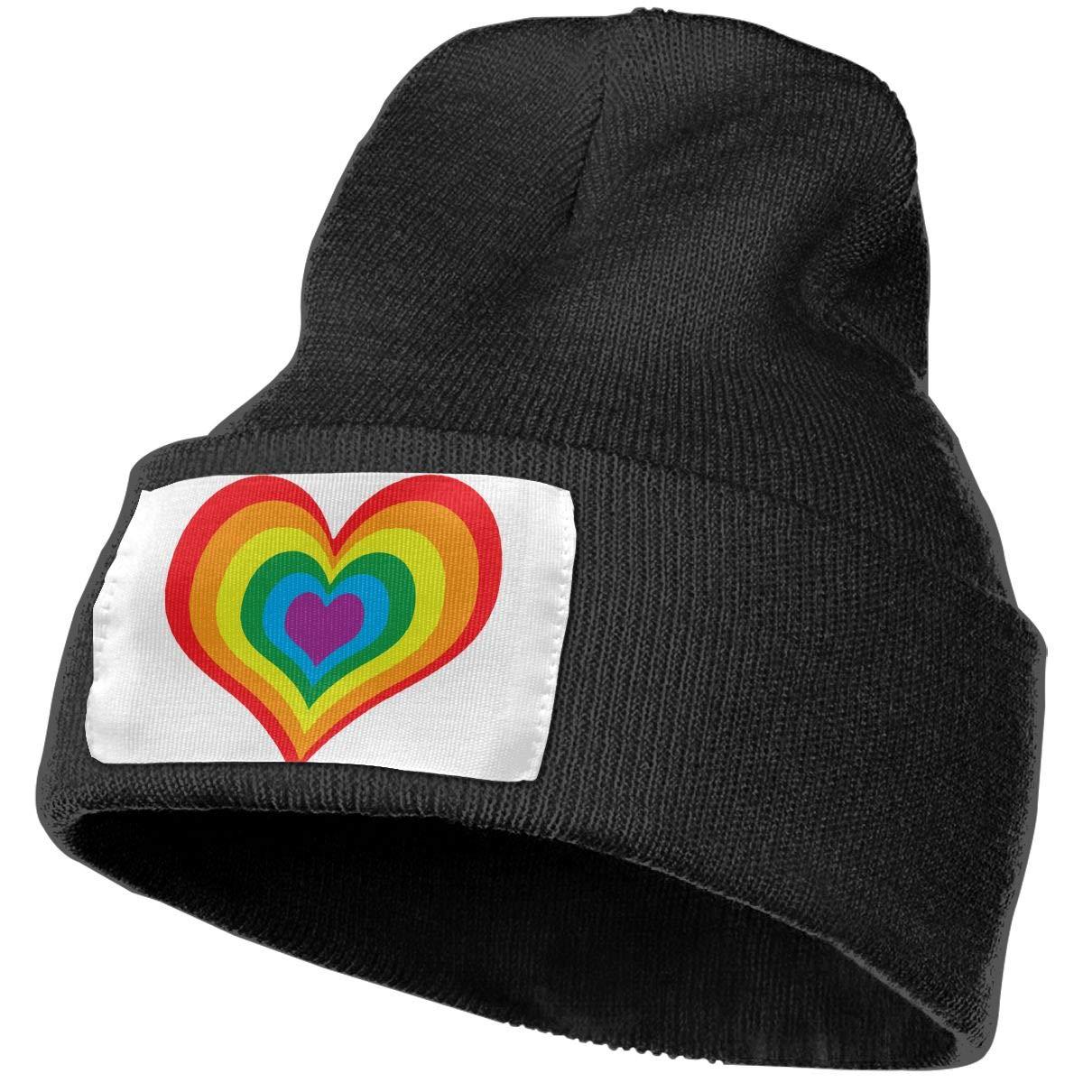 Rainbow Heart LGBT Women and Men Skull Caps Winter Warm Stretchy Knit Beanie Hats