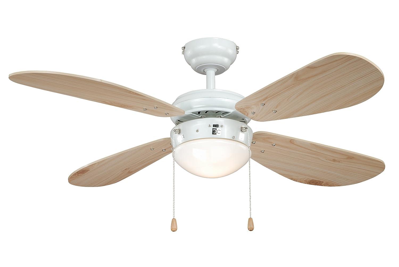 Deckenventilator mit Beleuchtung Classic, Gehäuse weiß, Flügelfarbe weiß, 105 cm Gehäuse weiß Flügelfarbe weiß aireRyder FN43311