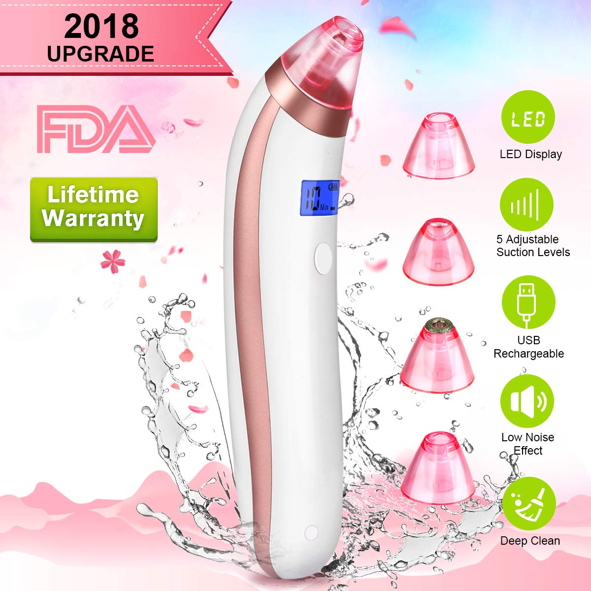 Blackhead Remover Vacuum, Electric Skin Pore Cleaner Blackhead Vacuum Suction Removal Rechargeable Skin Peeling Machine Comedone Acne Eliminator Device For Nose Face Women Men (Pink)