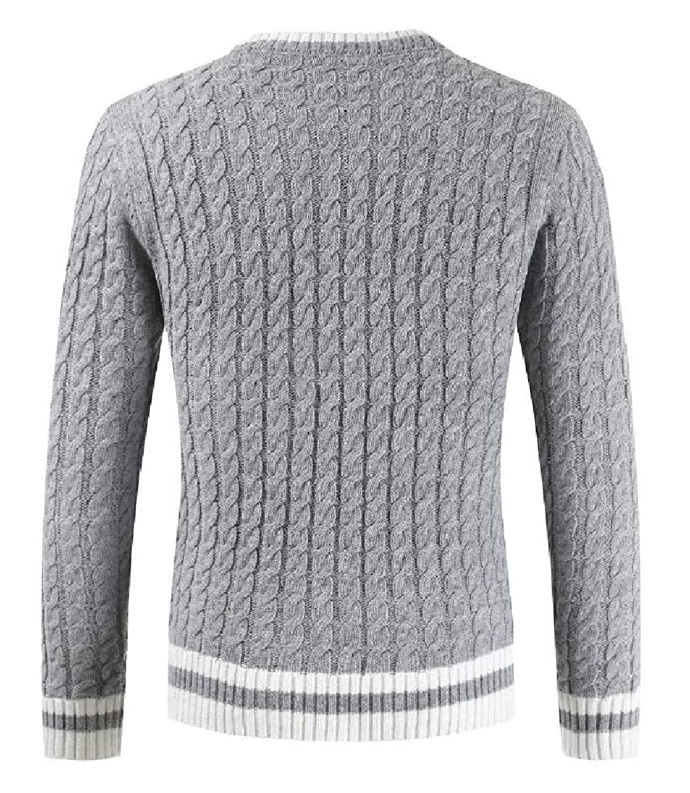 Yayu Men Slim Fit Cable Knit Long Sleeve Crew-Neck Sweater Pullover