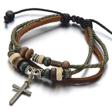 Lederarmband damen zum wickeln  Stammes Kreuz Braun Lederarmband Herren Damen Armband Leder ...