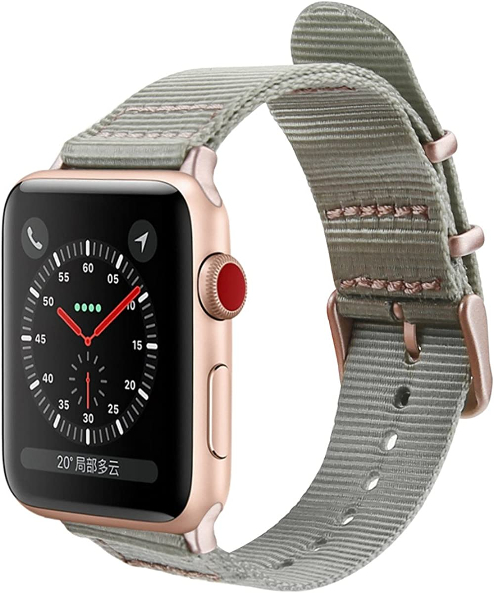 Amazon Com Gemek Compatible With Apple Watch Band 38mm 40mm Women Rose Gold Iwatch Bands Series 5 4 3 2 1 Adjustable Woven Nylon Sport Straps Replacement For Girls Wristband 38mm Pink Gray Clothing