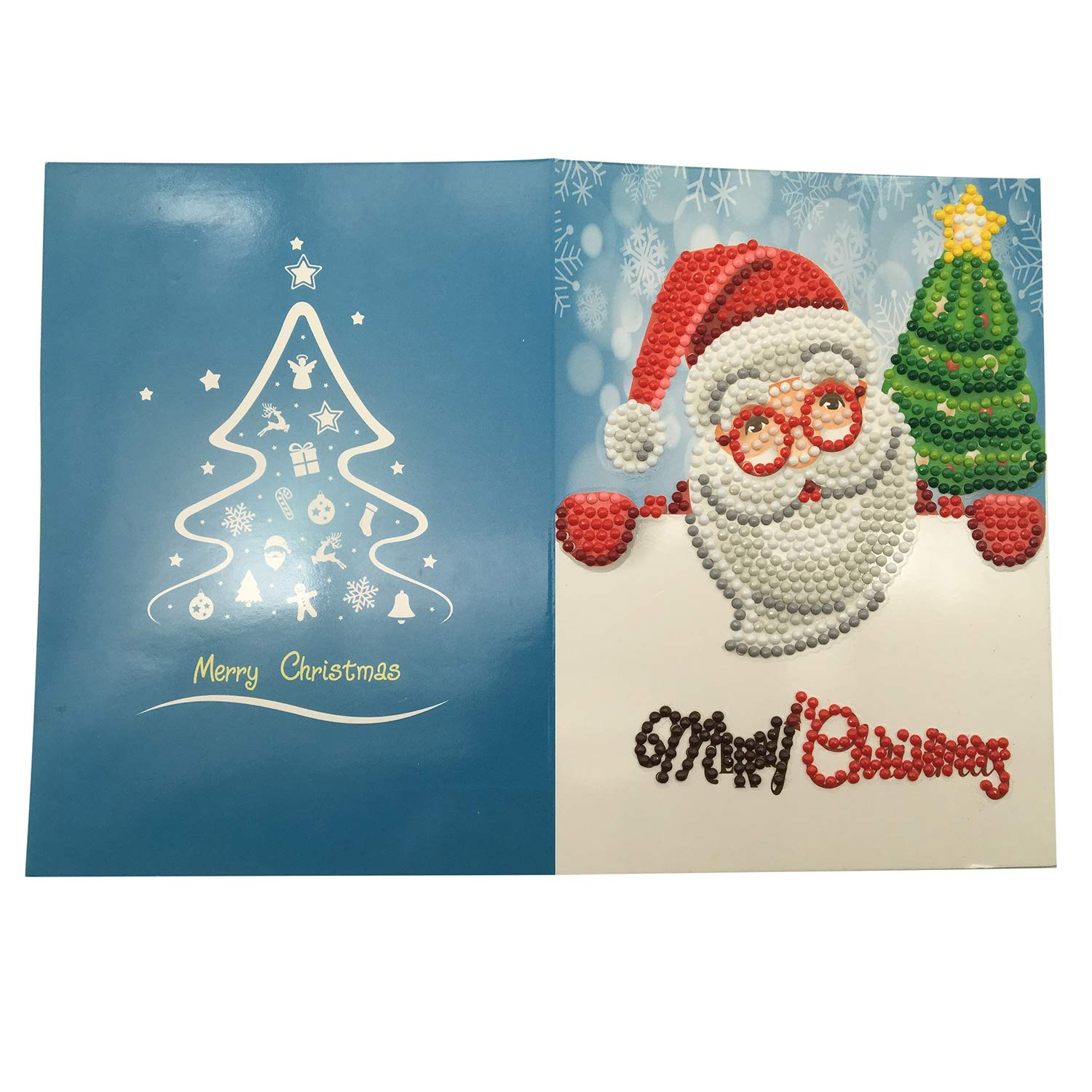 Christmas Creative Cards 5D DIY Diamond Painting Rhinestone Pictures of Crystals Embroidery Kits Arts Round Drill Greeting Thank You Cards Creative (8) Nacido Perfecto