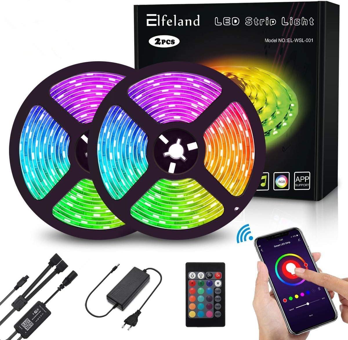 Wifi Ruban LED 10M, Elfeland Bande LED 2 x 5M 5050 RGB 300 LEDs, 16 Millions de Couleurs, IP65 Étanche, Sync avec Musique, Smart Téléphone APP Personnalisé, Travail avec Alexa, Google Home [Classe énergétique A+]