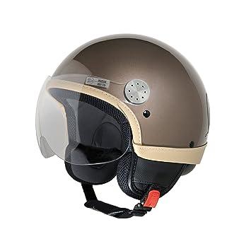Jet Casco Vespa Visor, color marrón