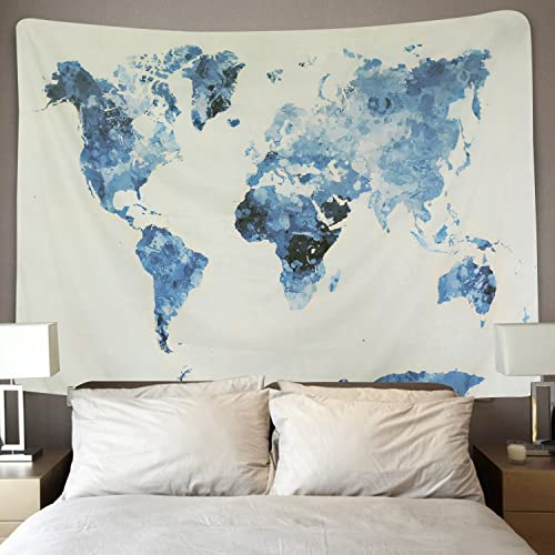 BLEUM CADE Blue Watercolor World Map Tapestry Abstract Splatter Painting Tapestry Wall Hanging Art for Living Room Bedroom Dorm Home Decor 70×92 Inches, Blue