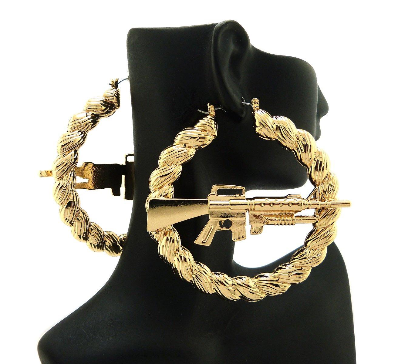 New Celebrity Style 'MACHINE GUN' 3'' Twist Hoop Pincatch Fashion Earring XE1123G