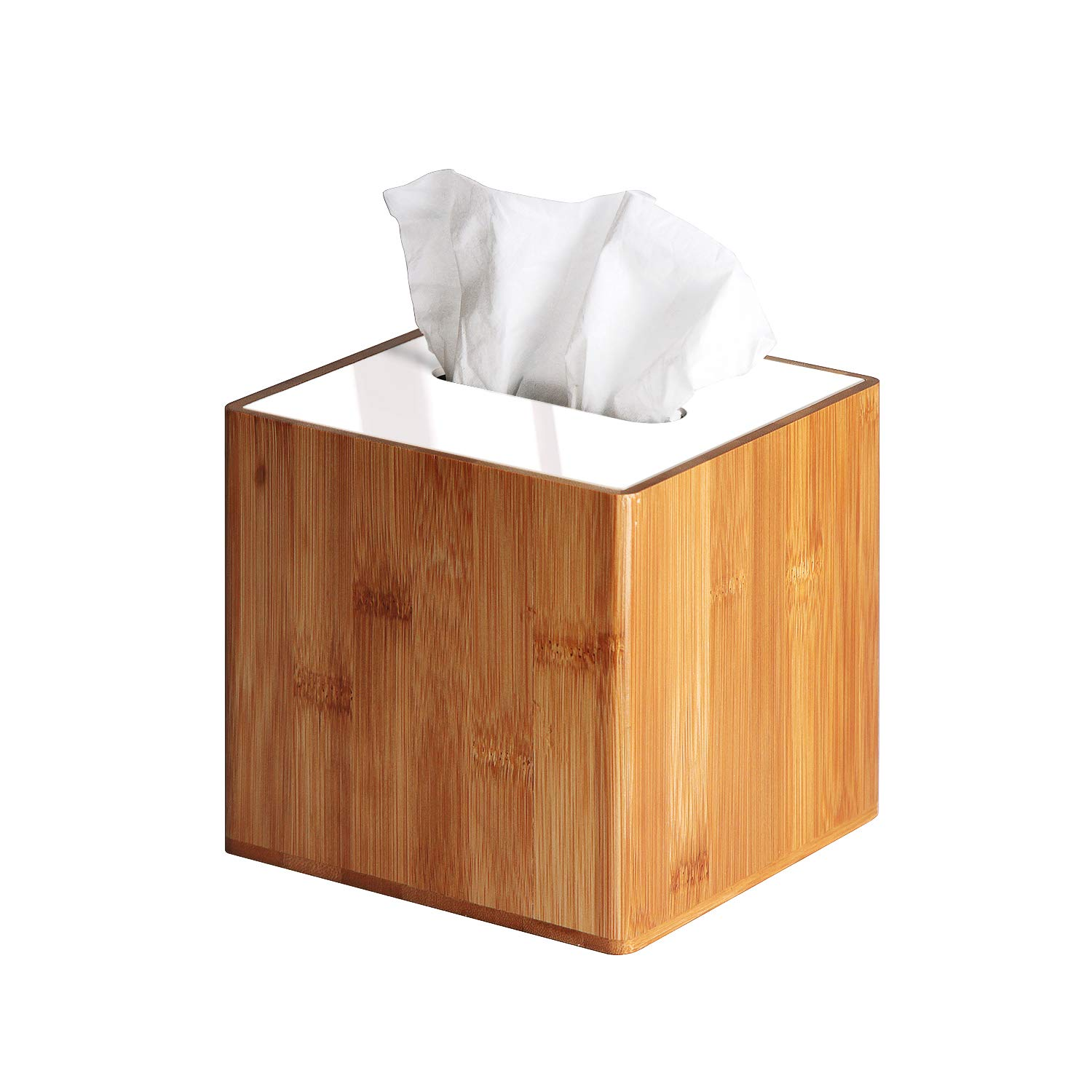 JackCubeDesign Bamboo Square Tissue Box White Acrylic Cover Holder Case Kleenex Storage Case Stand Box Napkin Holder Organizer (5.83 x 5.83 x 5.67 inches)-:MK340A by JackCubeDesign