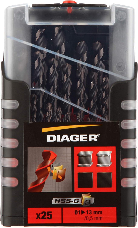 DIAGER diam/ètre 1 /à 10mm // 0,5mm R/ésiste /à l/échauffement Forets HSS G3 rev/êtu TialN Coffret de 19 forets Dur/ée de vie am/élior/ée
