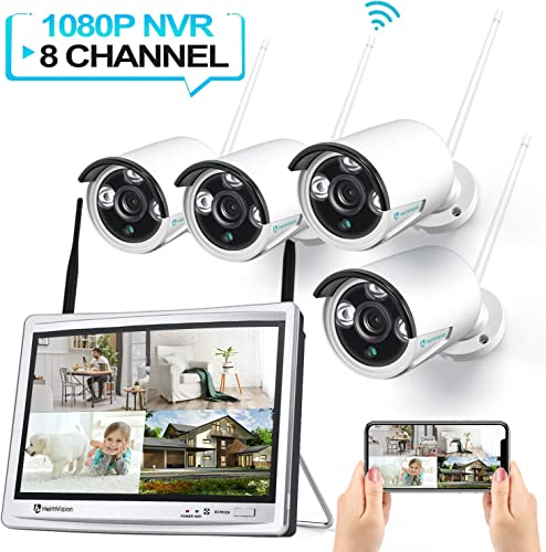 HeimVision HM243 1080P Wireless Security Camera System with 12 inch LCD Monitor, 8CH NVR 4Pcs Outdoor Indoor WiFi Surveillance Cameras with Night Vision, Waterproof, Motion Detection, No Hard Drive