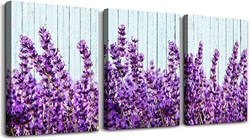 purple lavender Wall Art for Living Room Canvas Prints Artwork Bedroom wall decorations inspirational flowers watercolor wall Painting, 16×24 inch piece, 3 Panels Home bathroom Wall decor posters