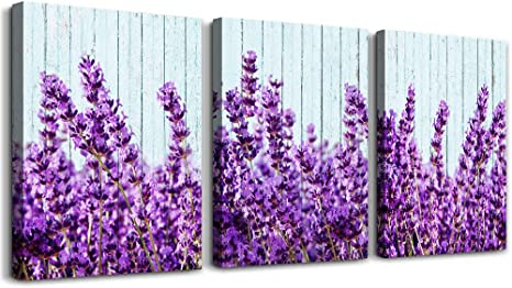 Purple Lavender Wall Art For Living Room Canvas Prints Artwork Bedroom Wall Decorations Inspirational Flowers Watercolor Wall Painting 12x16 Inch Piece 3 Panels Home Bathroom Wall Decor Posters Posters Prints