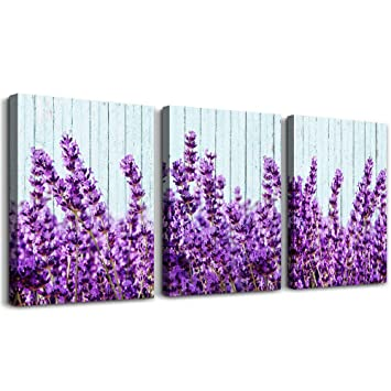 purple lavender Wall Art for Living Room Canvas Prints Artwork Bedroom wall  decorations inspirational flowers watercolor wall Painting, 12x16 ...