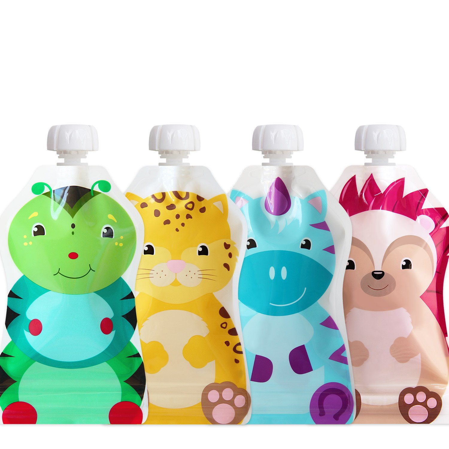 ChooMee Snackn Reusable Food Pouch - 4 CT | 5 oz. | Soft Pouch + Zero Leak Zipper | Enhance their Feeding Experience with Vibrant Colors and Fun Animal Characters SNAC4140A