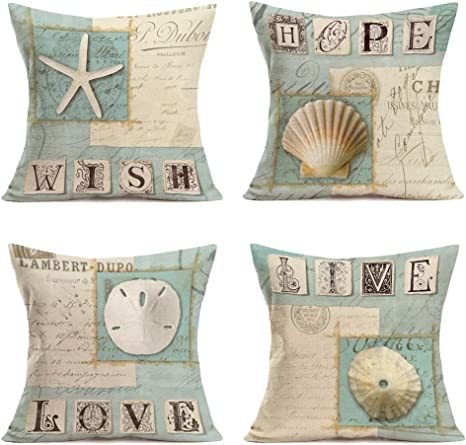 Amazon Com Qinqingo Throw Pillow Covers Ocean Sea Shell Starfish Coral Theme With Motivational Inspirational Words Lettering Decorative Sofa Bench Cushion Covers 4pack Summer Decor Pillowcases 18 X 18 Bog11 Home Kitchen