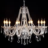 CRYSTOP Elegant Crystal Candle Chandelier Lighting Contemporary Ceiling Fixture Pendant Lamp Bling 10 Lights for Bedroom Living Room Hallway Entry 31.5 Inch X 47.2 Inch