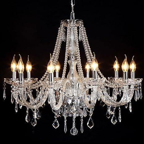 Ella Fashion® LED Elegant Rain Drop Crystal Candle Chandelier ...