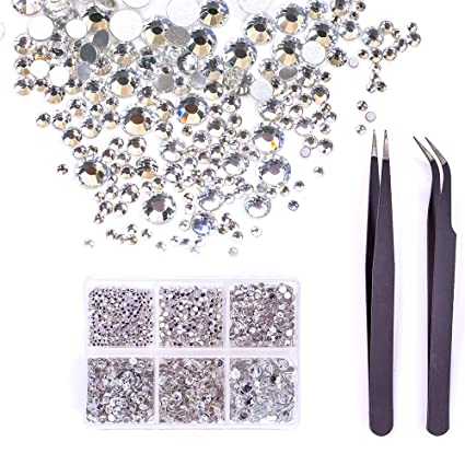 MIOBLET 1840pcs Crystals Clear Nail Art Rhinestones Round Beads Flatback  Glass Charms Gemstones 6 Sizes in e944f448a560