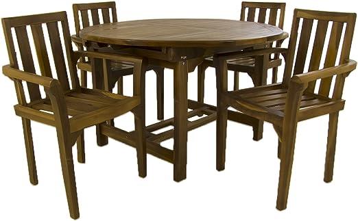 Edenjardi Conjunto Exterior de Madera Teca, Mesa Redonda Extensible 120/180 cm y 4 sillones apilables, Madera Teca Grado A, Tratamiento al Agua aplicado: Amazon.es: Jardín