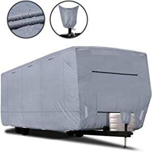 "RVMasking Upgraded 100% Waterproof Oxford Travel Trailer RV Cover, Fits 28'7"" - 31'6"" RVs - Easy Installaiton Anti-UV Ripstop Camper Cover with Tongue Jack Cover & Adhesive Repair Patch"